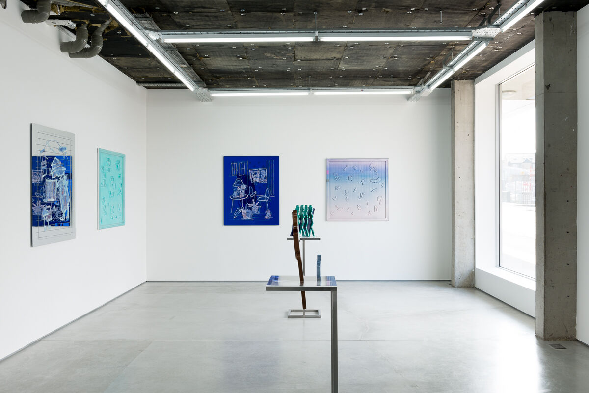 "Installation view of Lauren Elder, ""Blue Pacific,"" courtesy of Rod Barton and the artist."
