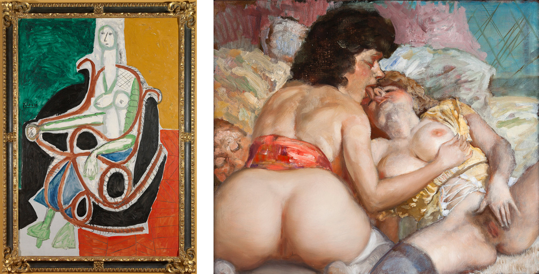 Left: Pablo Picasso,Femme Dans Un Rocking-Chair,1956.©2016 Estate of Pablo Picasso / Artists Rights Society (ARS), New York. Courtesy Gagosian; Right: John Currin,A Fool with Two Young Women,2013.©John Currin. Photo Rob McKeever. Courtesy Gagosian.