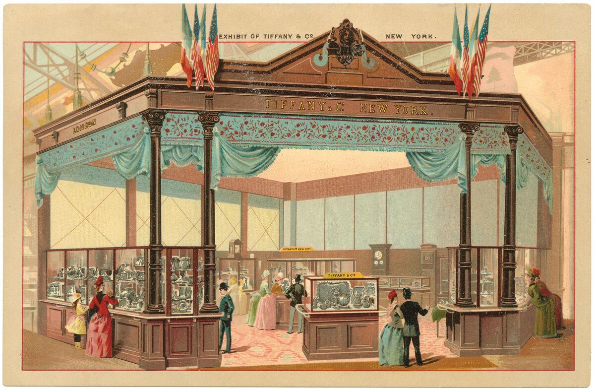 Tiffany's pavilion at the 1889 Paris World's Fair. © Tiffany & Co. Courtesy of the Tiffany & Co. Archives.