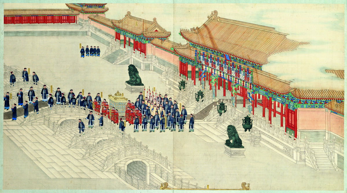 Qing Kuan and other court painters, The Grand Imperial Wedding of the Guangxu Emperor (detail), ca. 1889. © The Palace Museum.