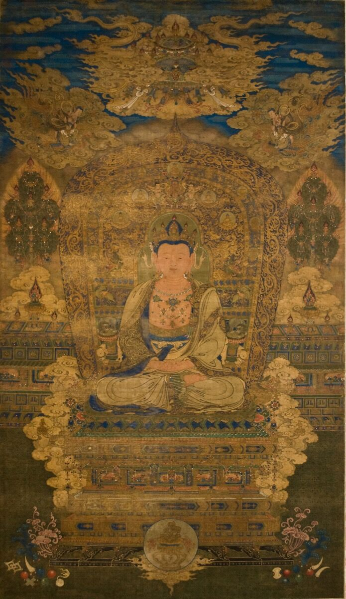 "Imperial Painting of ""Vairocana Buddha,"" Yuan Dynasty, 1279-1368. Image courtesy of Littleton & Hennessy Asian Art."