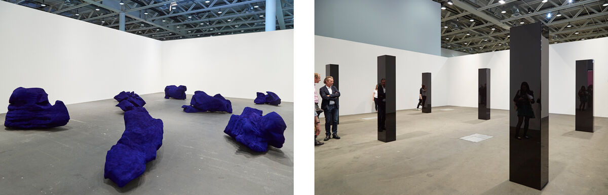 Left: Installation view of Anish Kapoor, Dragon, 1992, presented by Gladstone Gallery and Lisson Gallery at Art Basel Unlimited, 2016; Right: Installation view of John McCracken, Six Columns, 2006, presented by David Zwirner at Art Basel Unlimited, 2016. Photos by Benjamin Westoby for Artsy.