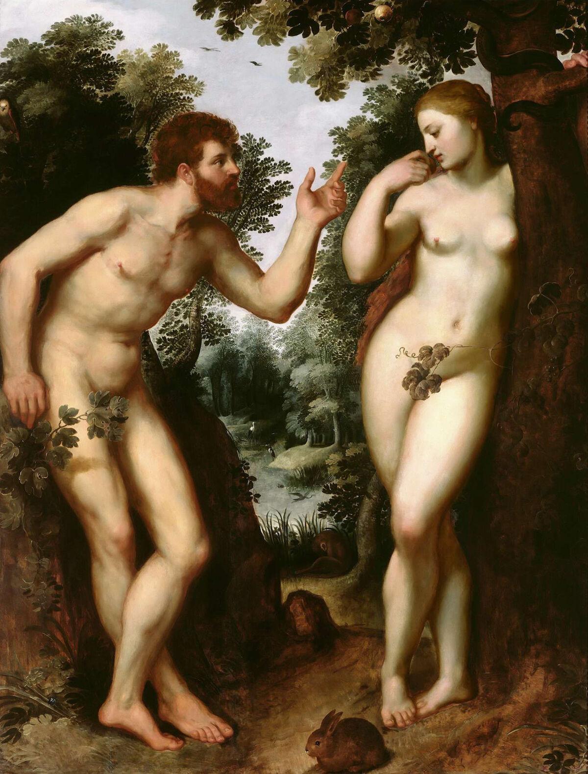 Peter Paul Rubens, Adam and Eve (between 1597–1600), 182.5 cm (71.8 in) by 140.7 cm (55.3 in). Courtesy Rubens House, Antwerp