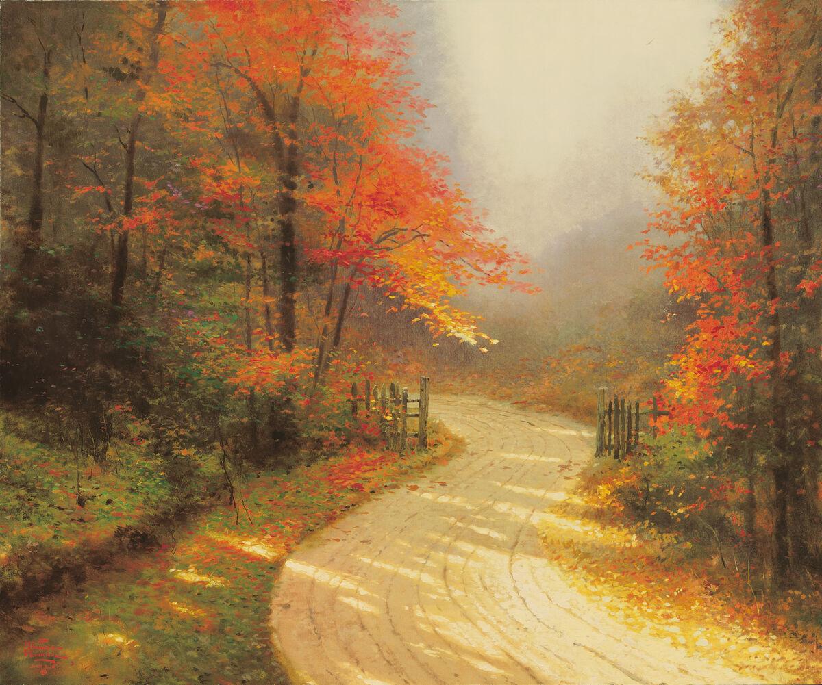 Thomas Kinkade, Autumn Lane, 1995. Courtesy of Thomas Kinkade Studios.