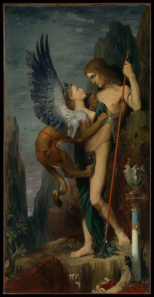 Gustave Moreau, Oedipus and the Sphinx, 1864. Image via Wikimedia Commons.