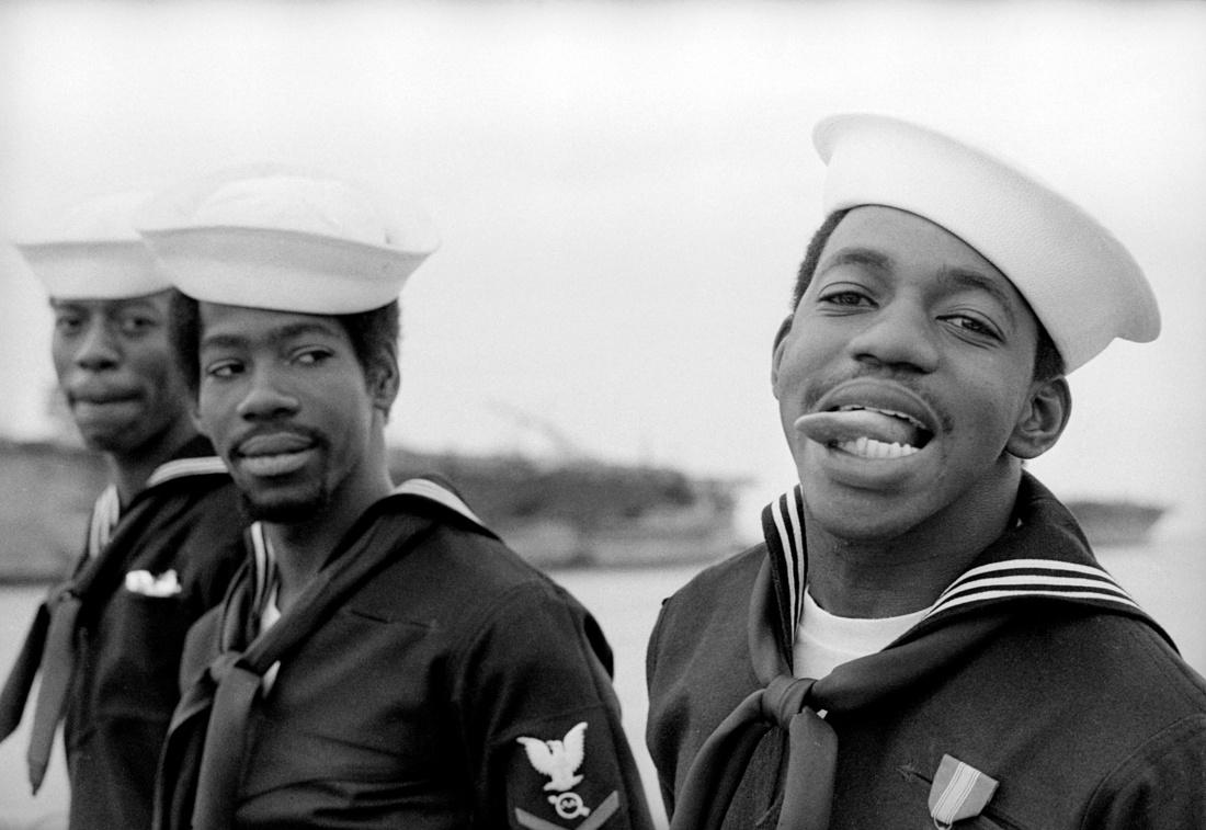 Alvin Baltrop, Three Navy Sailors , 1969 – 72. Collection Morteza Baharloo, Houston. Courtesy of the Contemporary Artsy Museum, Houston.
