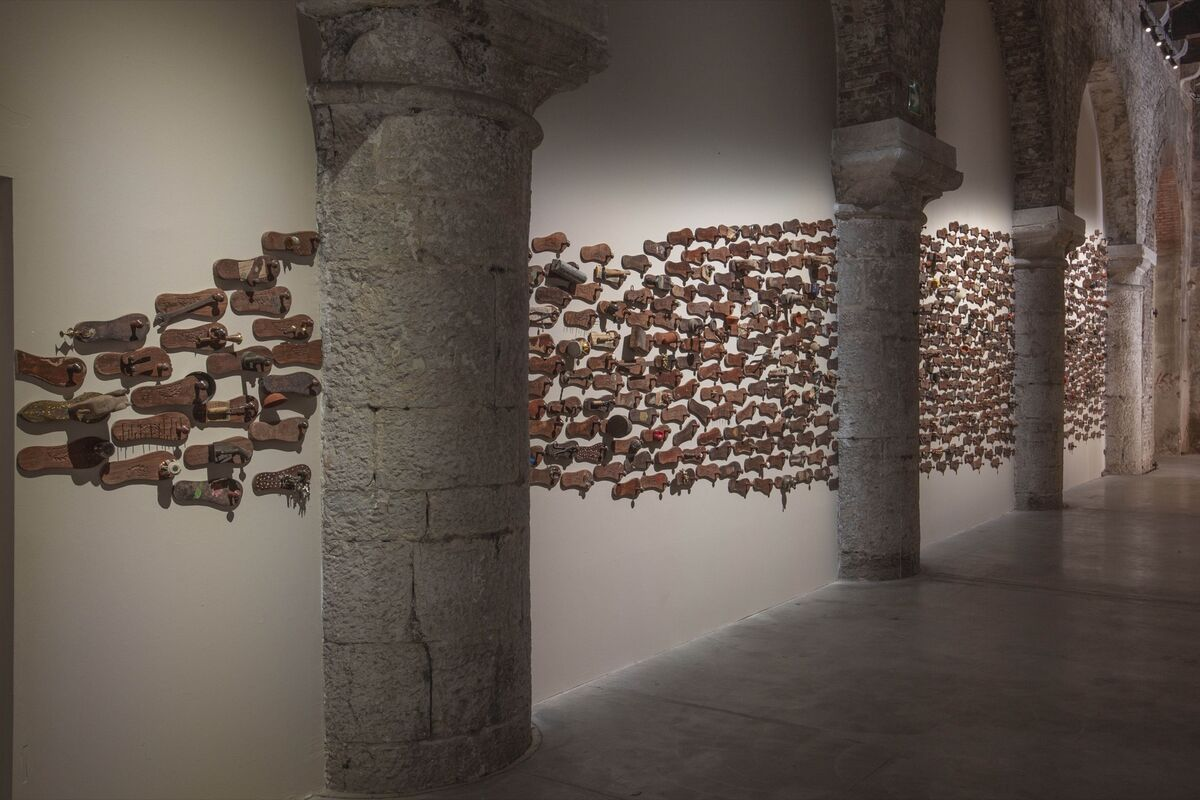 """Installation view of the India Pavilion, """"Our Time for a Future Caring,"""" featuring GR Iranna, Naavu (We Together), 2012, at the 58th Venice Biennale, 2019. Courtesy of the artist."""