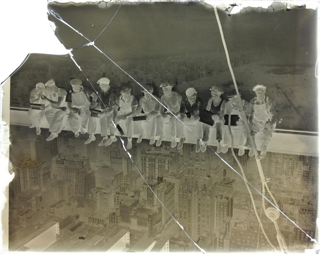 The original cracked glass negative of Lunch atop a Skyscraper.