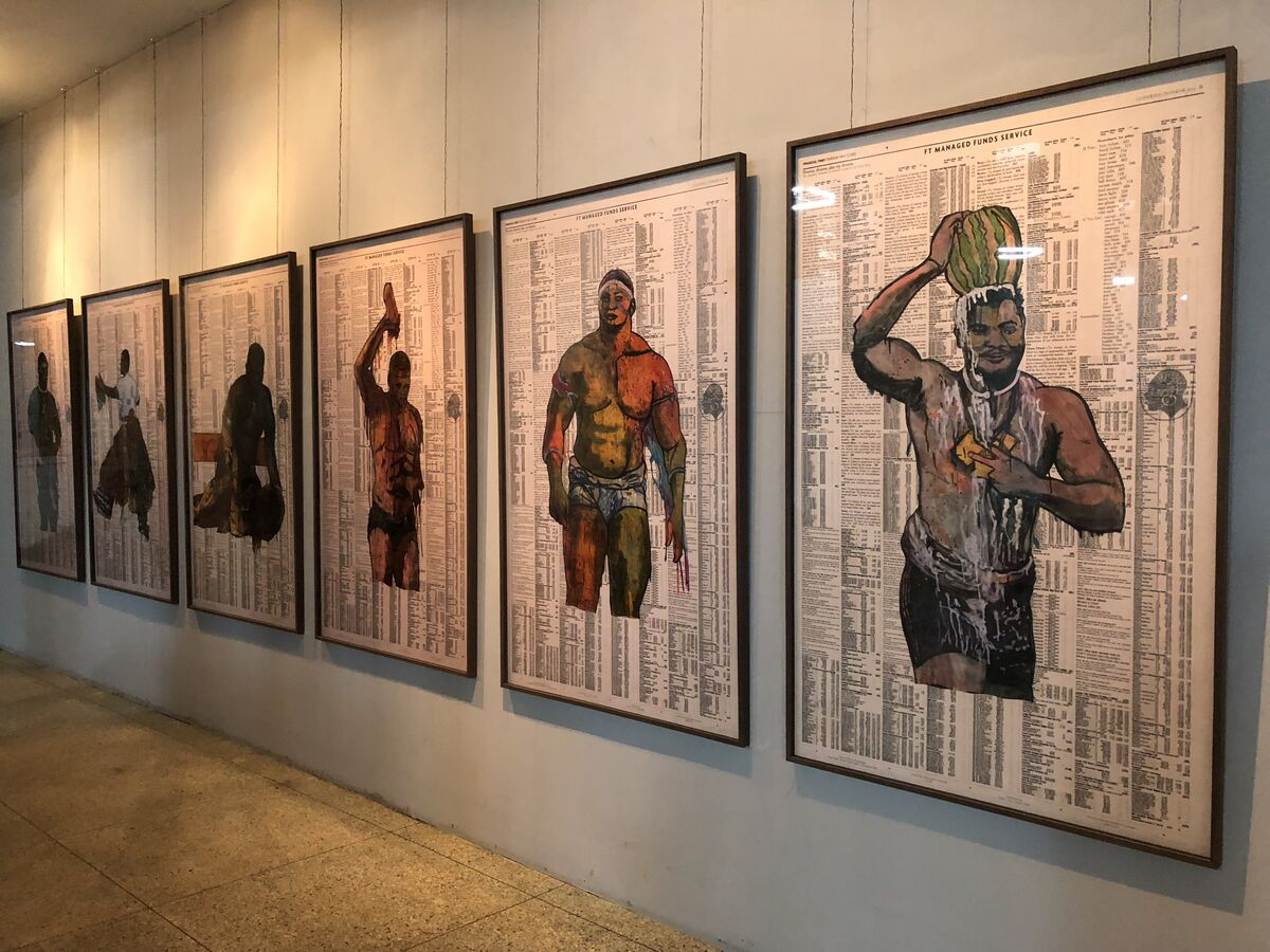 "Installation view of Godfried Donkor, ""Olympians,"" 2017-2018, at Dak'Art: African Contemporary Art Biennale, Dakar, 2018. Photo © Oumy Diaw."