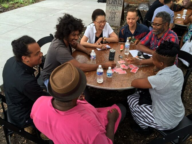 The Black Lunch Table, 2014, hosted at Black Artist Retreat, Dorchester Projects. Photo courtesy artists. Chicago, IL