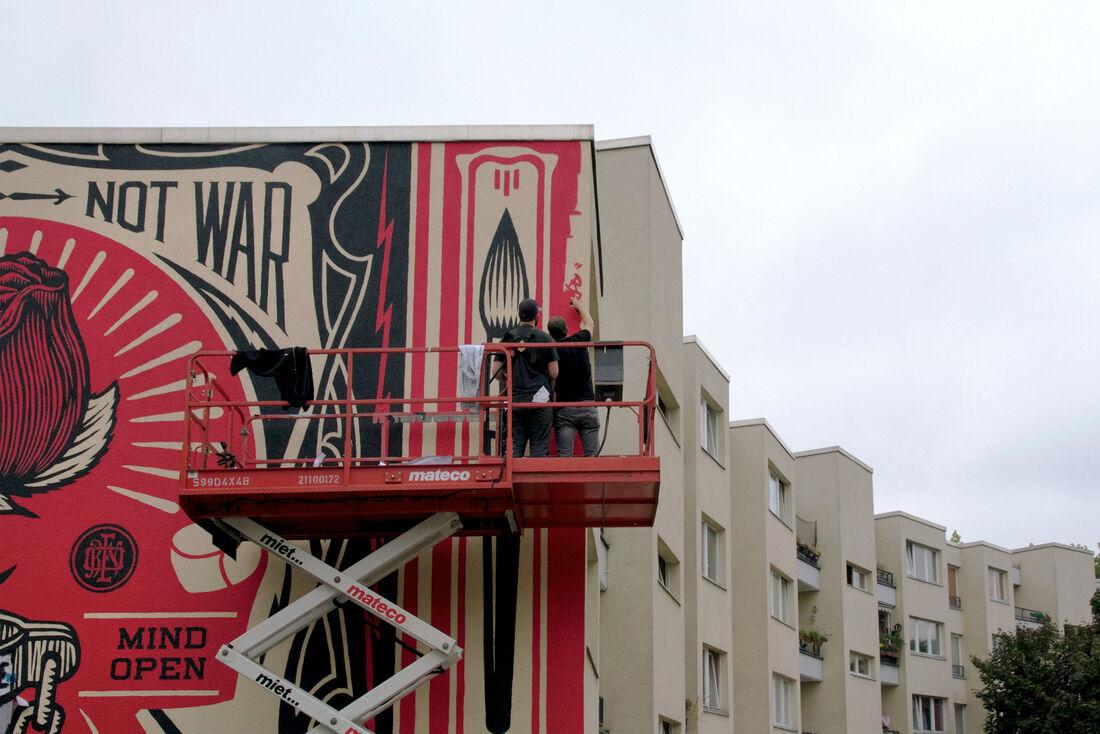 Shepard Fairey in progress for Urban Nation, Berlin, Germany, 2014. Photo © Henrik Haven