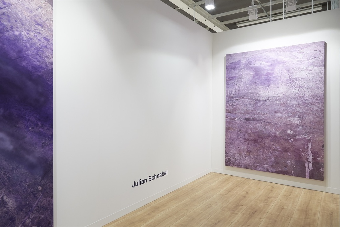 Installation view of works by Julian Schnabel at Pace Gallery's booth at Art Basel, 2016. Photo by Benjamin Westoby for Artsy.