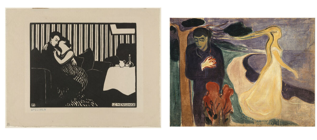 Félix Vallotton, The Lie (Le Mensonge) from Intimacies (Intimités),1897, Museum of Modern Art (Left) and Edvard Munch, Separation, 1896, Munch Museum (Right)