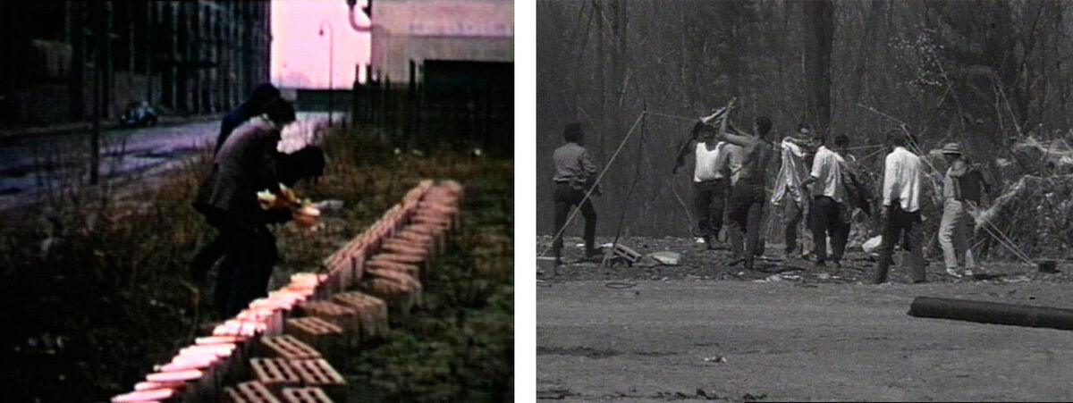 Left: Allan Kaprow, Sweet Wall (film still), 1970. Documentation of a Happening, Galerie René Block, West Berlin; Right: Allan Kaprow,  Household (film still), 1964. Documentation of a Happening commissioned by Cornell University, Ithaca NY. © Allan Kaprow Estate, courtesy of the Estate and Hauser & Wirth.
