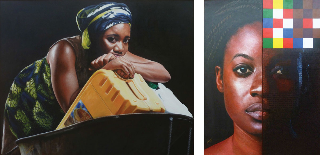 Left: Jeremiah Quarshie, Yellow is the colour of water series I, 2013. Right: Jeremiah Quarshie, 32 Muses, 2013. Images courtesy of the artist and Gallery 1957, Accra.