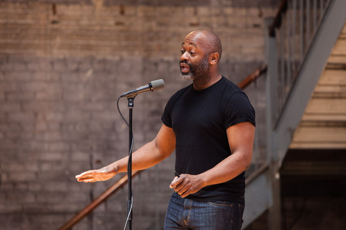 Theaster Gates speaks at Ideas City Detroit. Photo by Marta Xochilt Perez for Artsy.