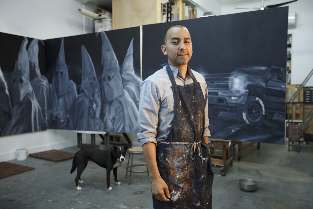 Vincent Valdez in his studio, 2016. © Michael Stravato. Courtesy of the Blanton Museum of Art.