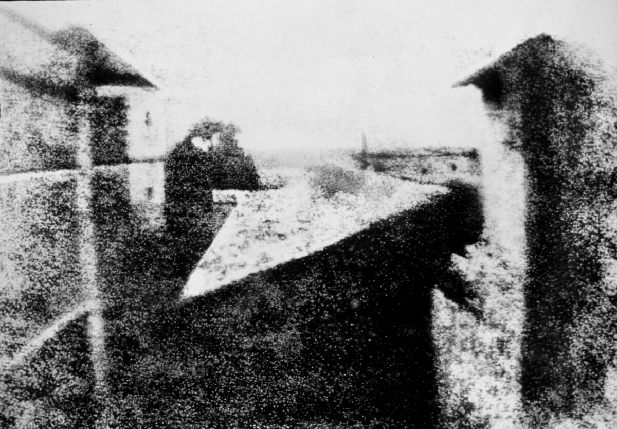 Nicéphore Niépce, View from the Window at Le Gras, 1826–27. Photo via Wikimedia Commons.