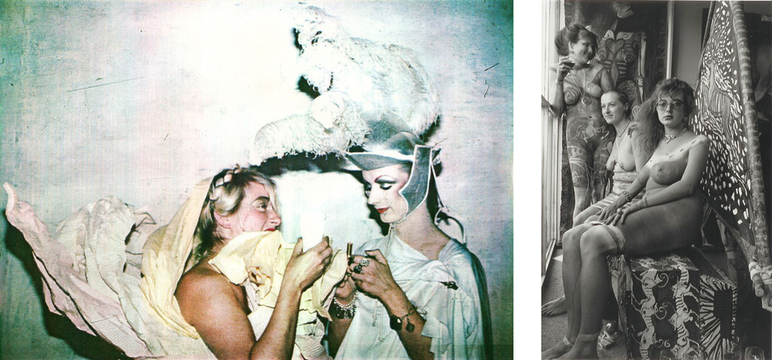 Left:Neo Naturists, Paper Dress at the Embassy Club with George O'Dowd as Brittania, The Coffee Spoon Embassy Club, London, 5 Sep 1980. Courtesy of the Neo Naturists Archive and Studio Voltaire.; Right:Neo Naturists, Private View Performance at James Birch Gallery, Kings Road London, 24 May 1984. Courtesy of james Birch and the Neo Naturists Archive, and Studio Voltaire.