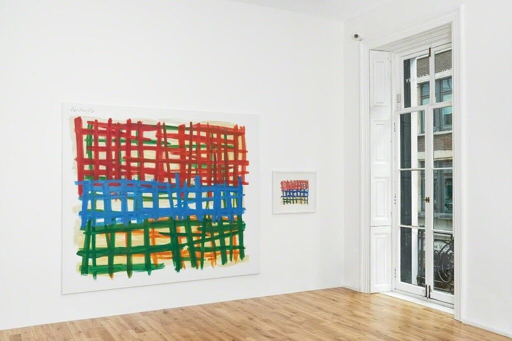 """Installation view ofGünther Förg """"To London! A selection of paintings"""" atAlmine Rech Gallery.Courtesy of the Estate of Günther Förg and Almine Rech Gallery.Photo by Alex Delfanne."""