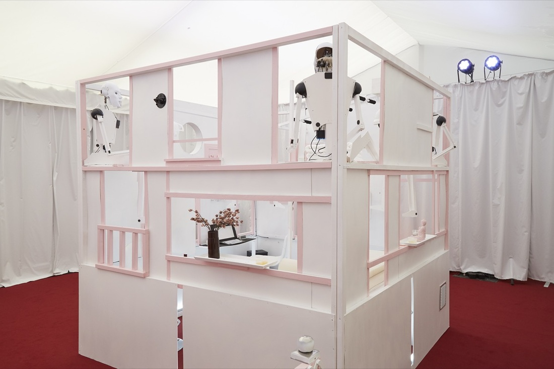 Installation view of Sibylle Berg and Claus Richter'sWonderland Ave, 2016, at Frieze London, 2016. Photo by Benjamin Westoby for Artsy.