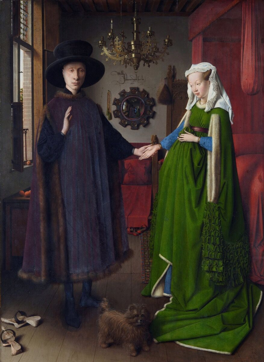 Jan van Eyck, Portrait of Giovanni Arnolfini and his Wife, 1434. Photo via Wikimedia Commons.