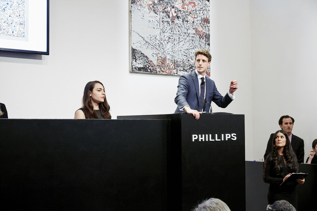 Henry Highley at the 2016 Spring 20th Century  & Contemporary Art Evening Sale, New York. Courtesy of Phillips and Jean Bourbon.
