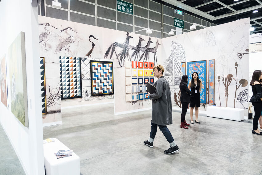 Installation view of Sabrina Amrani's booth at Art Basel in Hong Kong, 2018. © Art Basel. Courtesy of Art Basel.