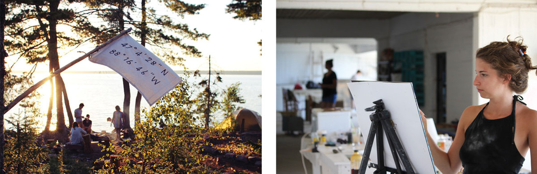 Left: Photo courtesy of Cabin Time via Rate My Artist Residency. Right: Photo courtesy of Skopelos Foundation for the Arts via Rate My Artist Residency.