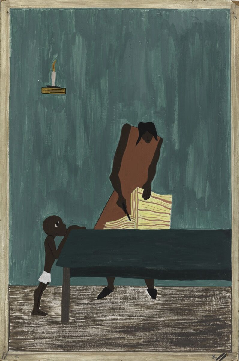 Jacob Lawrence, The Migration Series, Panel no. 11: Food had doubled in price because of the war, 1940–1941. © The Jacob and Gwendolyn Lawrence Foundation, Seattle / Artists Rights Society (ARS), New York. Courtesy of The Philips Collection.
