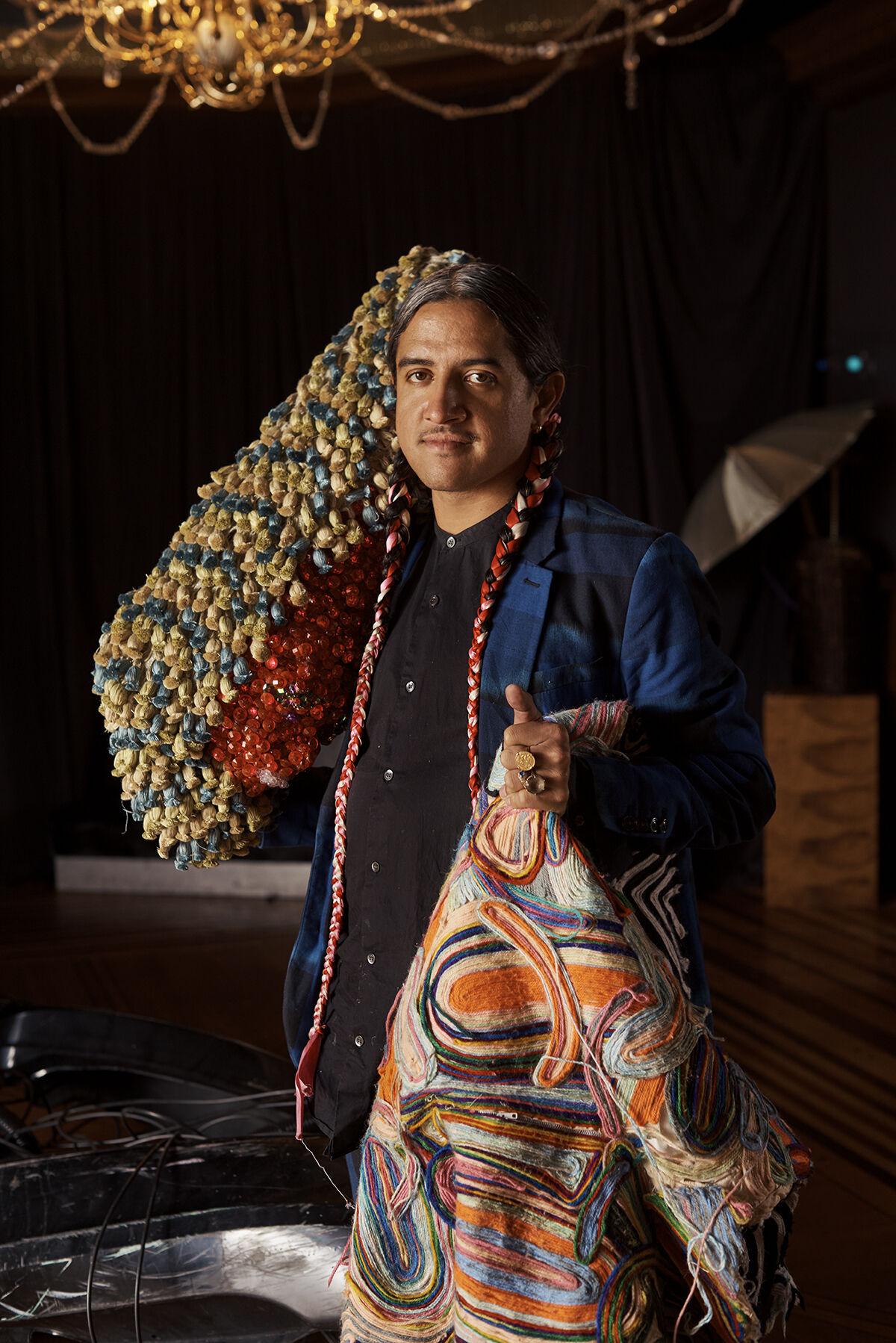 Portrait of Raúl de Nieves in his Queens studio by Alex John Beck for Artsy.
