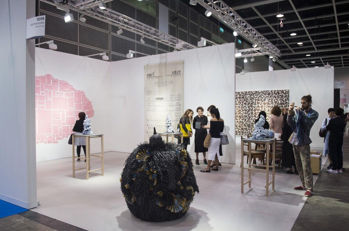 Installation view of kurimanzutto's booth at Art Basel in Hong Kong, 2017. Courtesy of Art Basel in Hong Kong.