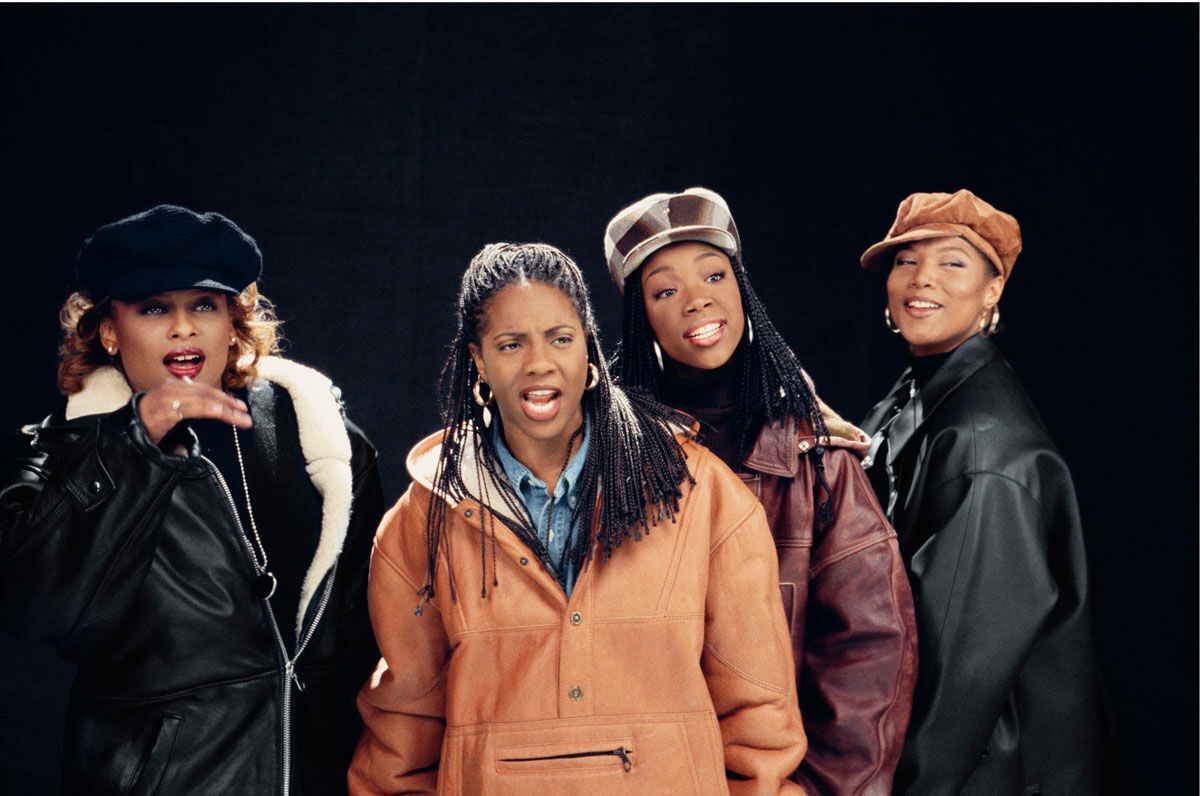 "Lisa Leone, Yo-Yo, MC Lyte, Brandy and Queen Latifah, ""I Wanna Be Down"" remix video, New York City, 1994. Image courtesy of the artist and HVW8 Gallery."