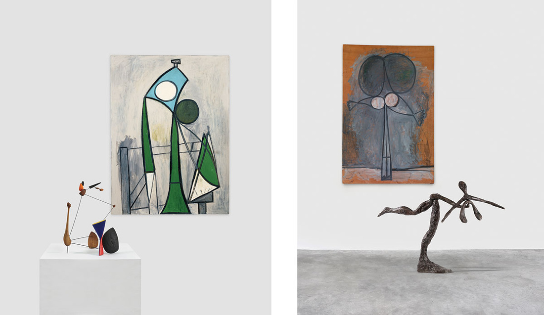 Left: Alexander Calder, Constellation with Diabolo. 1943.  © 2016 Calder Foundation / Artists Rights Society (ARS). Pablo Picasso, Woman, 1946. © 2016 Succession Picasso / Artists Rights Society (ARS). Right: Alexander Calder, Dancer, 1944. © 2016 Calder Foundation / Artists Rights Society (ARS). Pablo Picasso, Standing Woman, 1946. © 2016 Succession Picasso / Artists Rights Society (ARS). Images courtesy of Almine Rech.