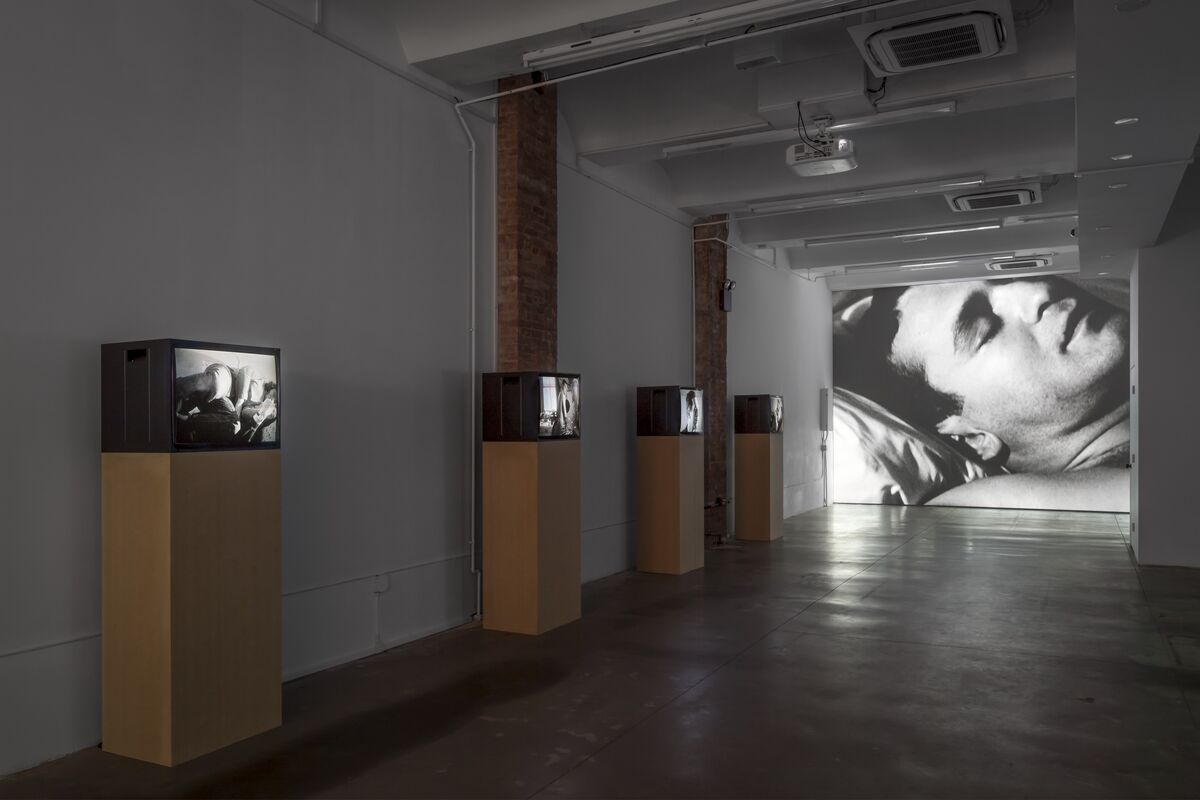 Installation View of  Andy Warhol, Sleep, 1963 and other works by Andy Warhol, at Swiss Institute, 2017  Photo by Daniel Pérez. © The Andy Warhol Museum, Pittsburgh; Founding  Collection, 2017 The Andy Warhol Foundation for  the Visual Arts, Inc./ Artists Rights Society (ARS),  New York. Courtesy of Studio Rondinone.