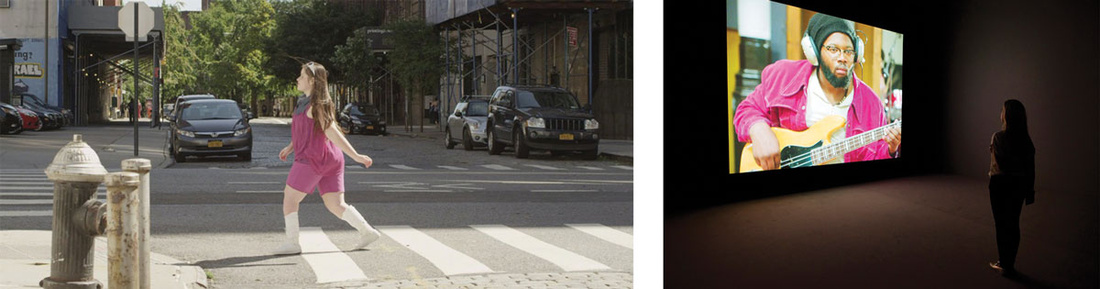 Left: Martin Creed, Still from Work No. 1701, 2013. Right: Stan Douglas, Luanda-Kinshasa, 2013. Photo by Linda Nylind. Images courtesy ofHayward Gallery.