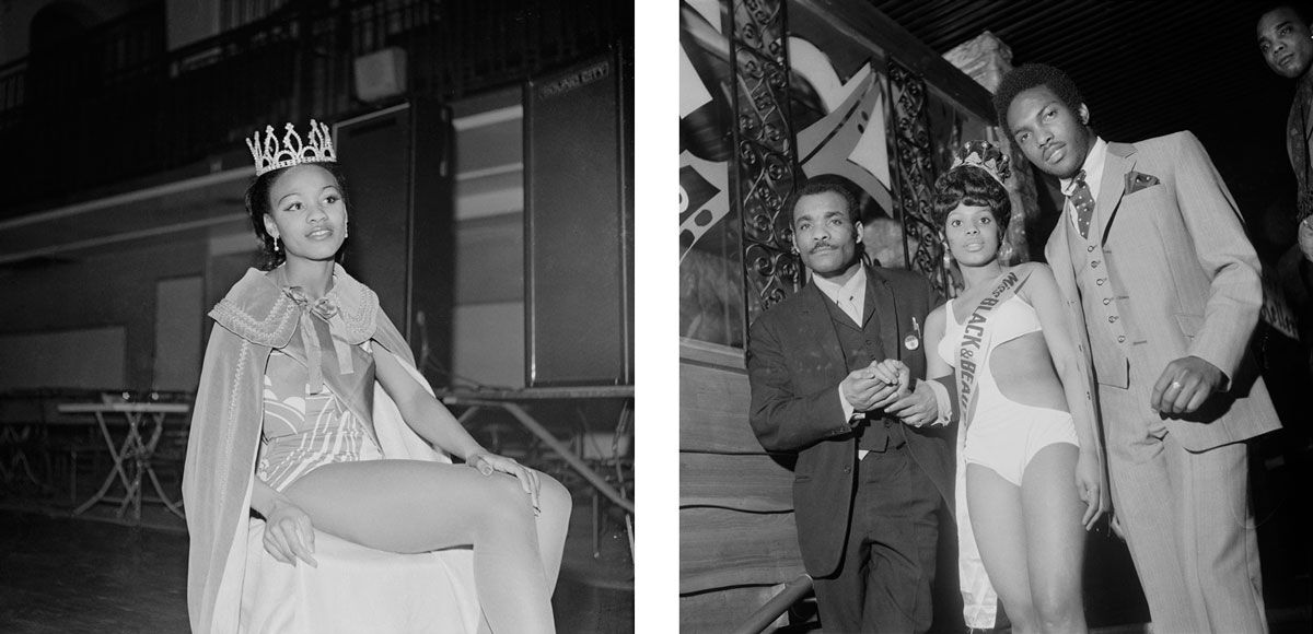 Left: Raphael Albert, (unidentified) beauty queen, 1970s. © Raphael Albert/Autograph ABP. Right: Raphael Albert, (unidentifed) Miss Black & Beautiful escorted by two men, 1970s. © Raphael Albert/Autograph ABP.