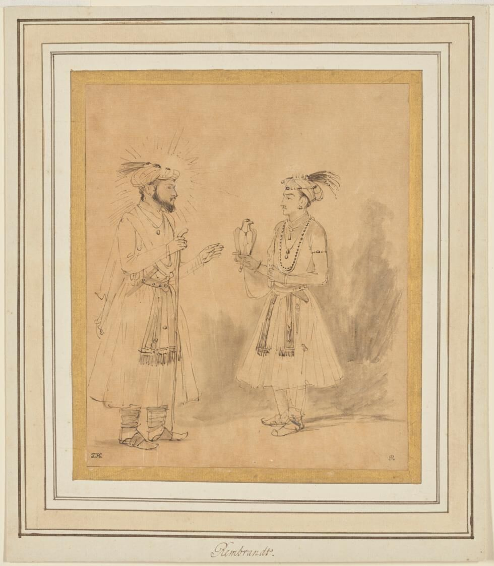 Rembrandt Harmenszoon van Rijn, Shah Jahan and Dara Shikoh, 1656-1661. Courtesy of the J. Paul Getty Museum, Los Angeles.