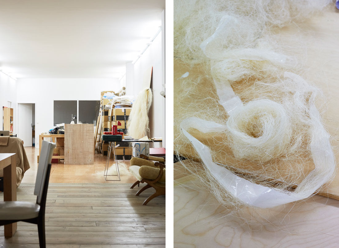 Detail views of Kapwani Kiwanga's Paris studio. Photos by Emily Johnston for Artsy.