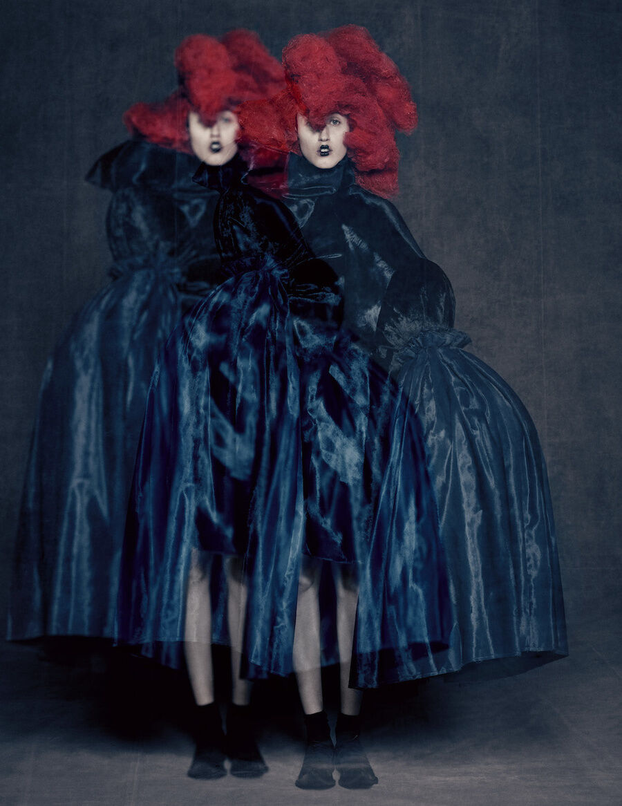 Rei Kawakubo for Comme des Garçons, Blue Witch, spring/summer 2016. Courtesy of Comme des Garçons. Photo by © Paolo Roversi. Courtesy of the Metropolitan Museum of Art.
