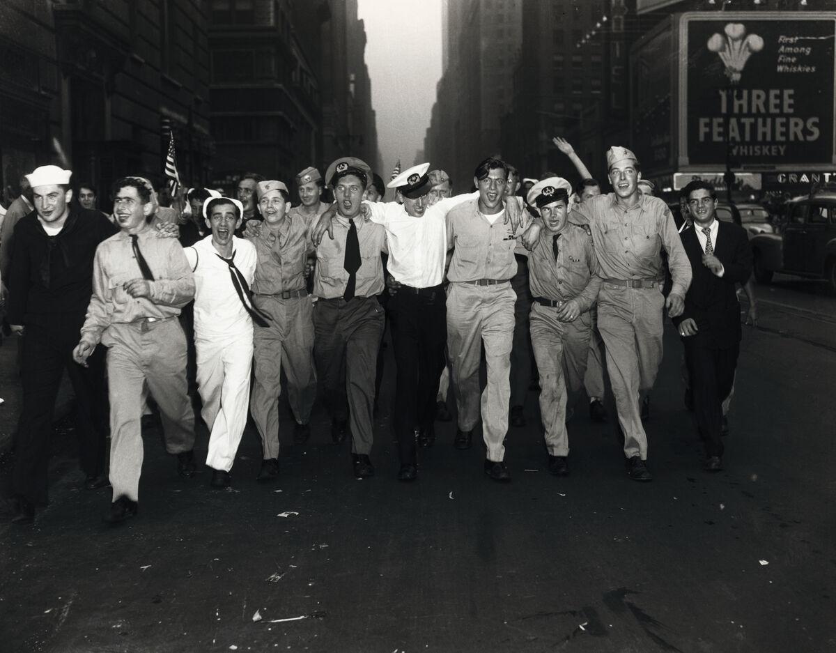 V-J Day in New York City, 1945. Photo by Bettmann via Getty.