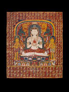 Thangka of Vairocana, Nepal, Drigung Kagyu School, 14th century, Distemper on cloth.H. 93 x W. 73.8 cm., Carlton Rochell Asian Art, New York