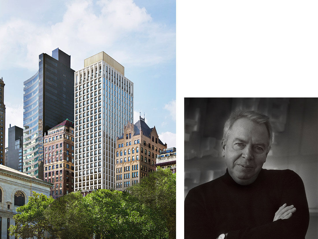 David Chipperfield Architects, The Bryant. Rendering by Miller Hare. Portrait of David Chipperfield. Courtesy of David Chipperfield Architects.