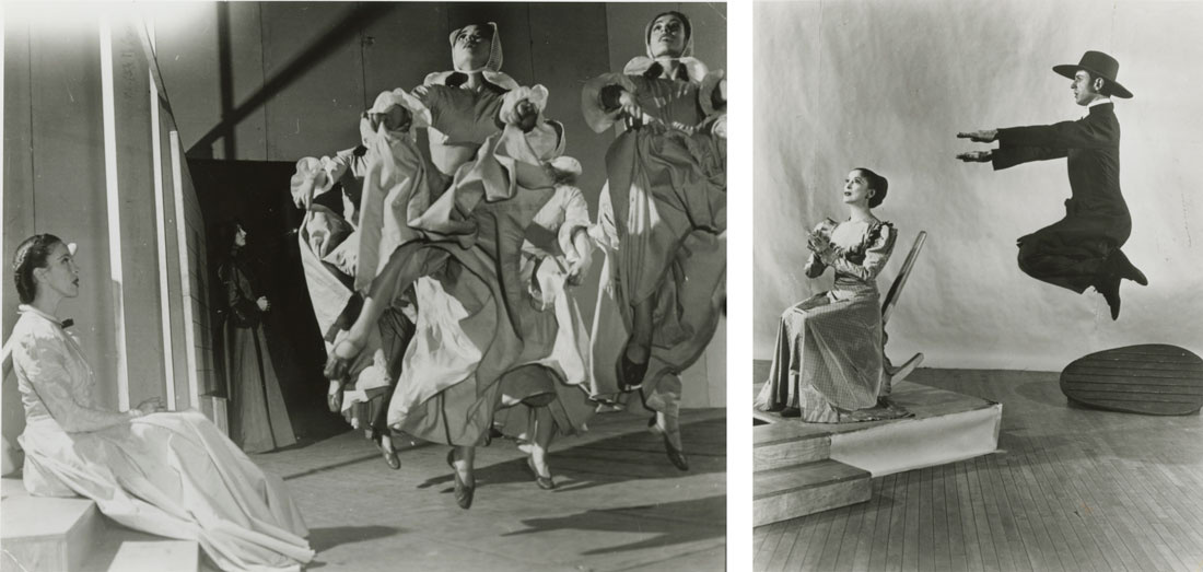 Left: Martha Graham, May O'Donnell, Yuriko, and Pearl Lang in Appalachian Spring; Right: Martha Graham and Bertram Ross in Appalachian Spring. Photos by Arnold Eagle, courtesy of the Martha Graham Dance Company.