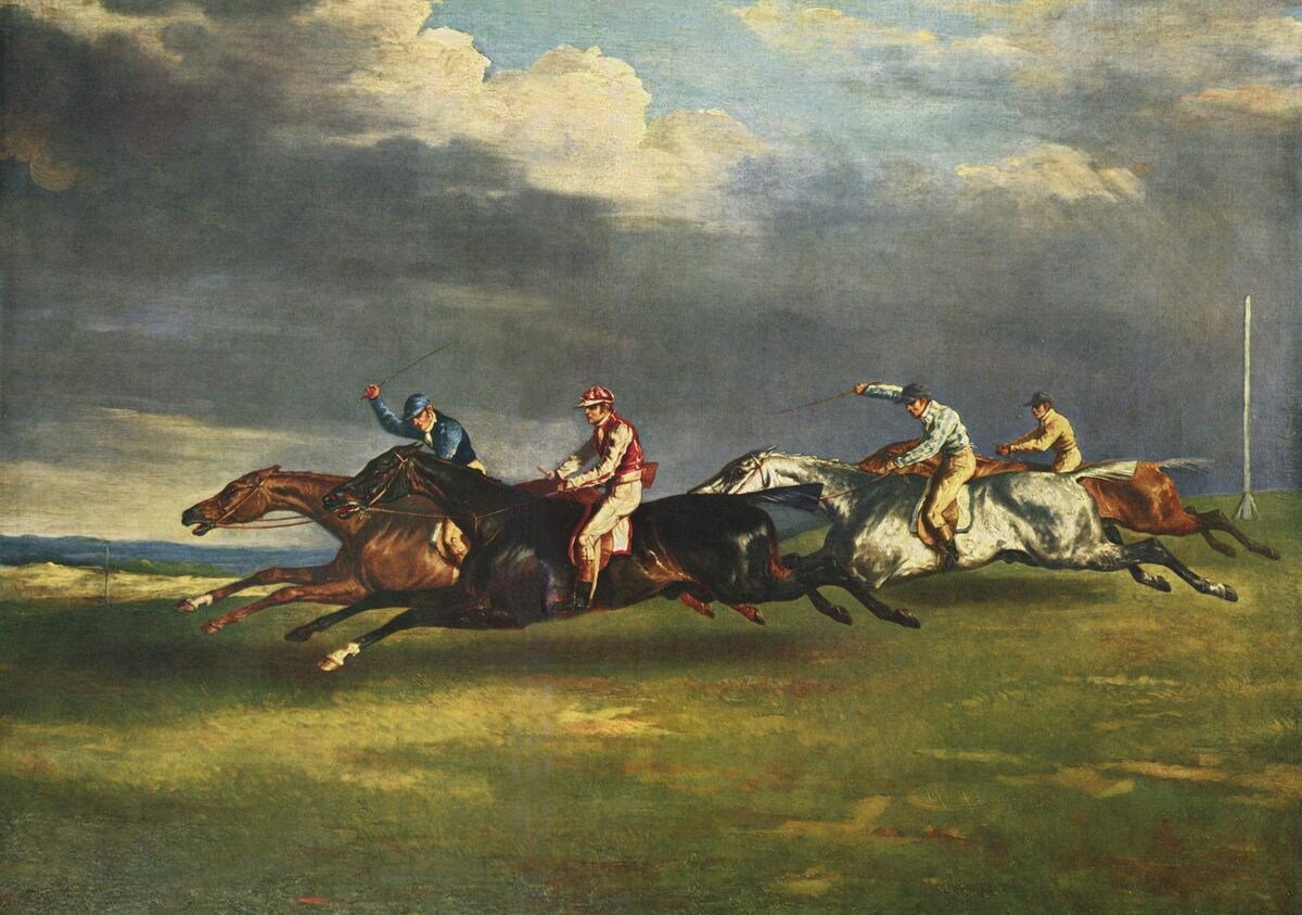 Théodore Géricault, Le Derby de 1821 à Epsom, 1821. Collection of the Louvre. Photo via Wikimedia Commons.