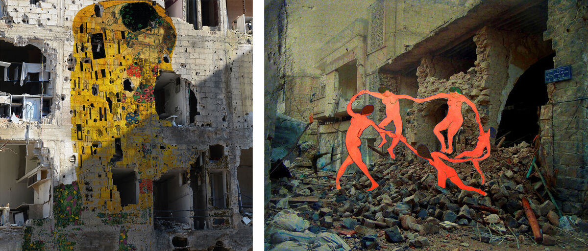 Tammam Azzam, Gustav Klimt's The Kiss (left) and Matisse's La Danse (right). Images courtesy of the artist and Ayyam Gallery.