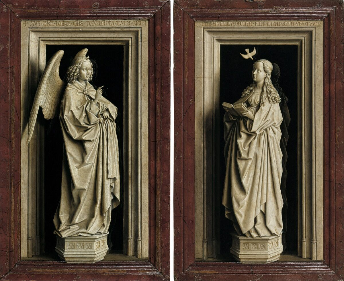 Jan van Eyck, The Annunciation Diptych, ca. 1433–35. © Museo Nacional Thyssen-Bornemisza, Madrid.