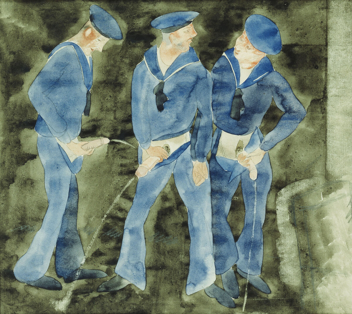 Charles Demuth, Three Sailors, c. 1930. Private collection. Photo © Christie's Images; American. Courtesy David Zwirner Books.