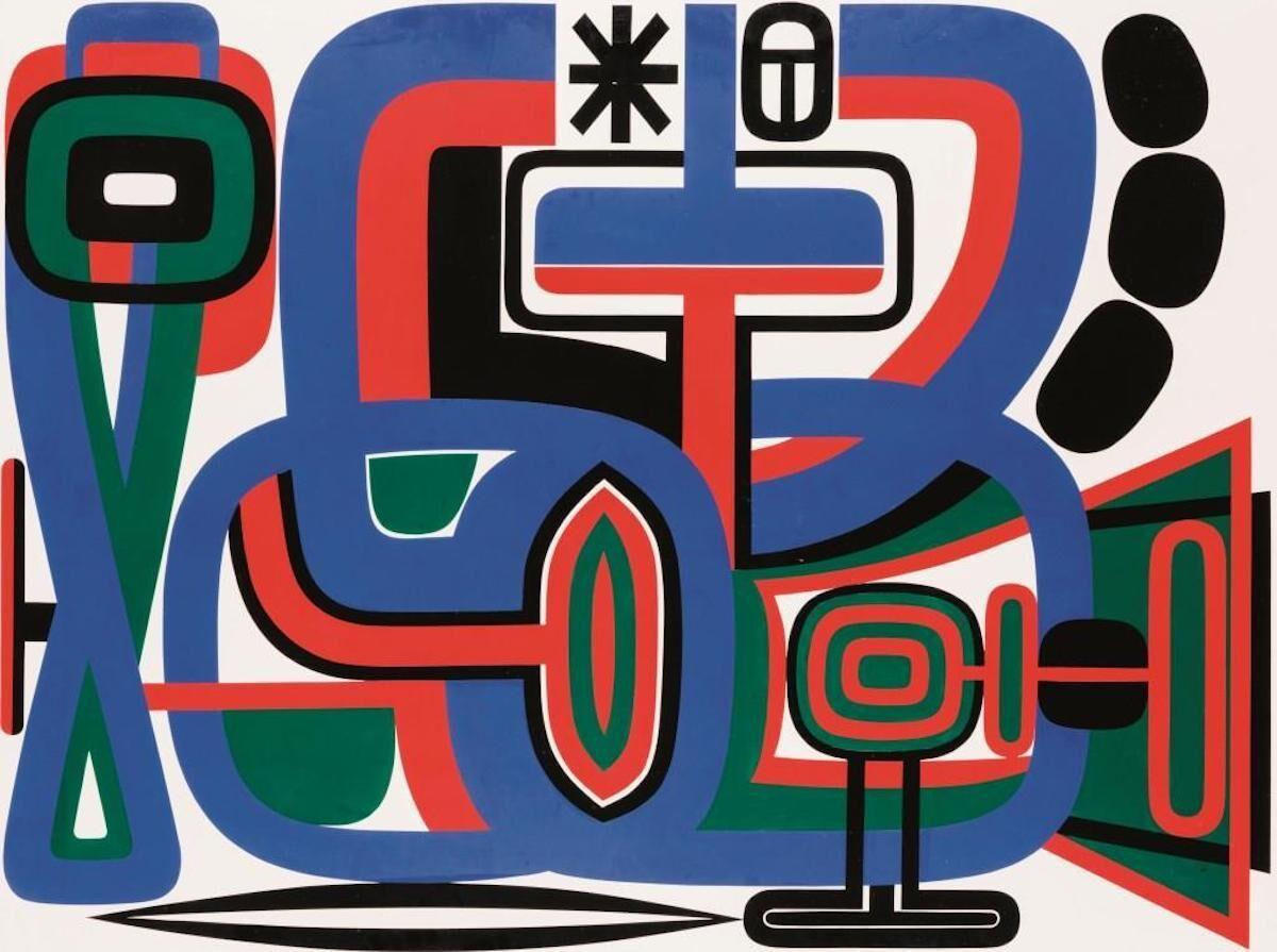 Jean Dewasne, Age de vivre, glycerophthalic lacquer (97 x 130 cm / 38 3/16 x 51 3/16 in), est. €7,000–10,000. Courtesy S
