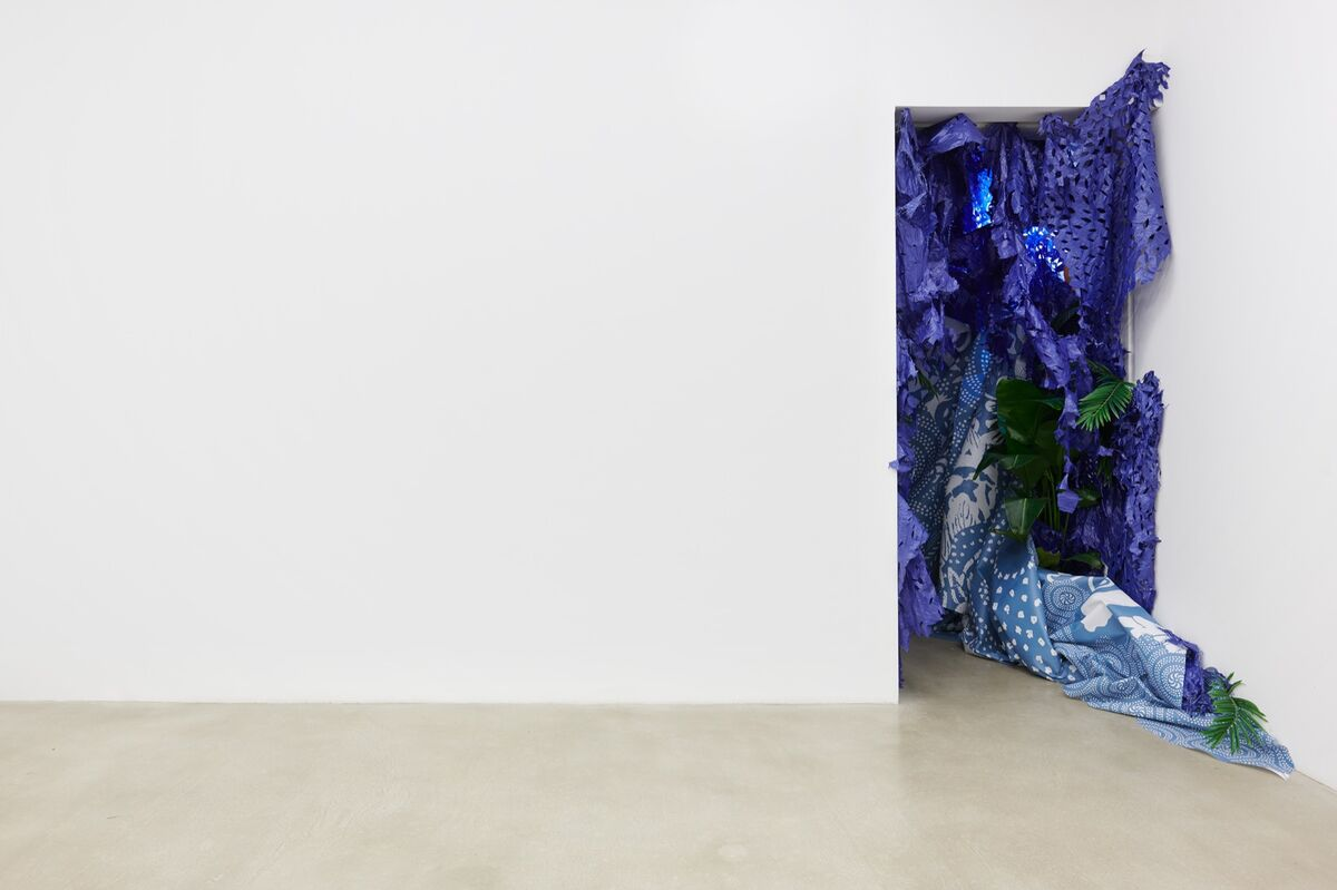 Installation view of Firelei Báez,  A Drexcyen chronocommons (To win the war you fought it sideways),  2019, at James Cohan, New York, 2019. © Firelei Báez. Photo by Phoebe d'Heurle. Courtesy of the artist and James Cohan, New York.